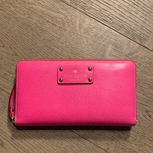 Kate spade large bright pink wallet